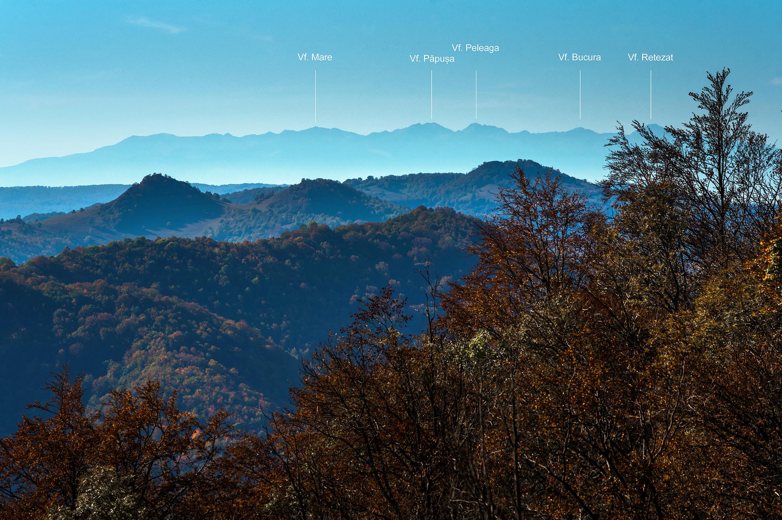 Munții Retezat văzuți de pe Piatra Cetii