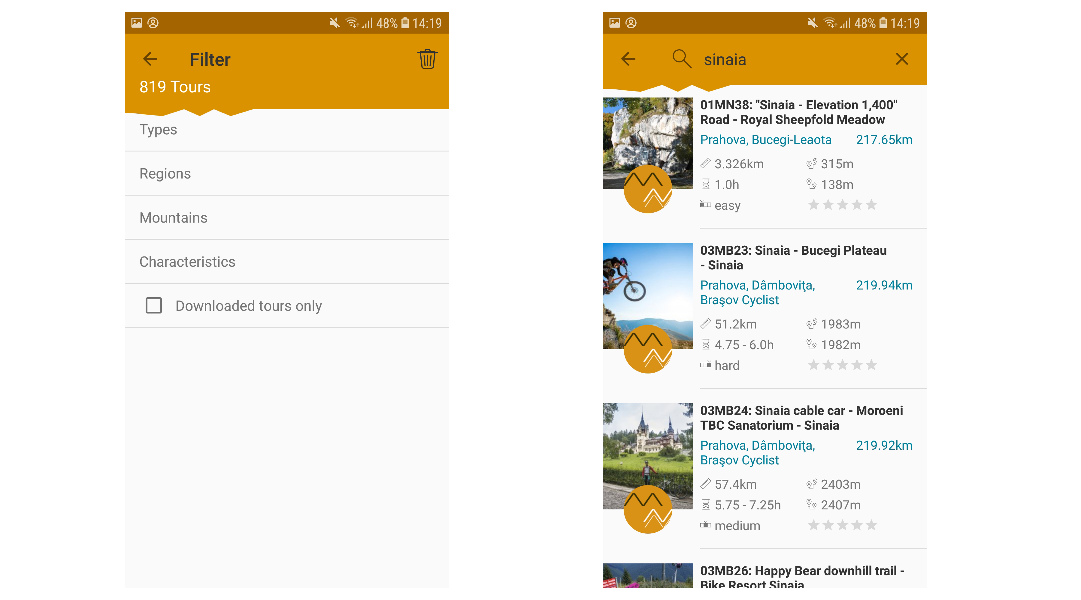 Filtering trails in the new Muntii Nostri App