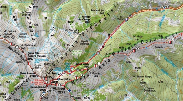 Harta Valea Lala spre Ineu - Muntii Nostri