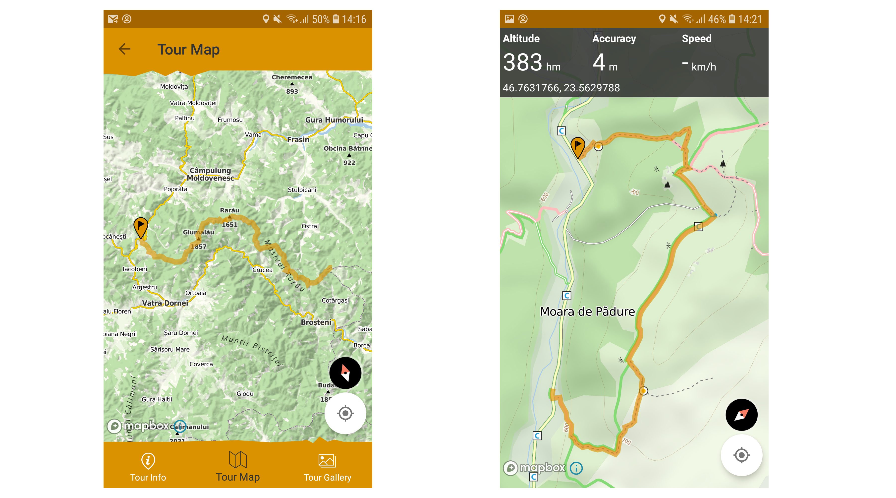 Tour map and position in New Muntii Nostri App