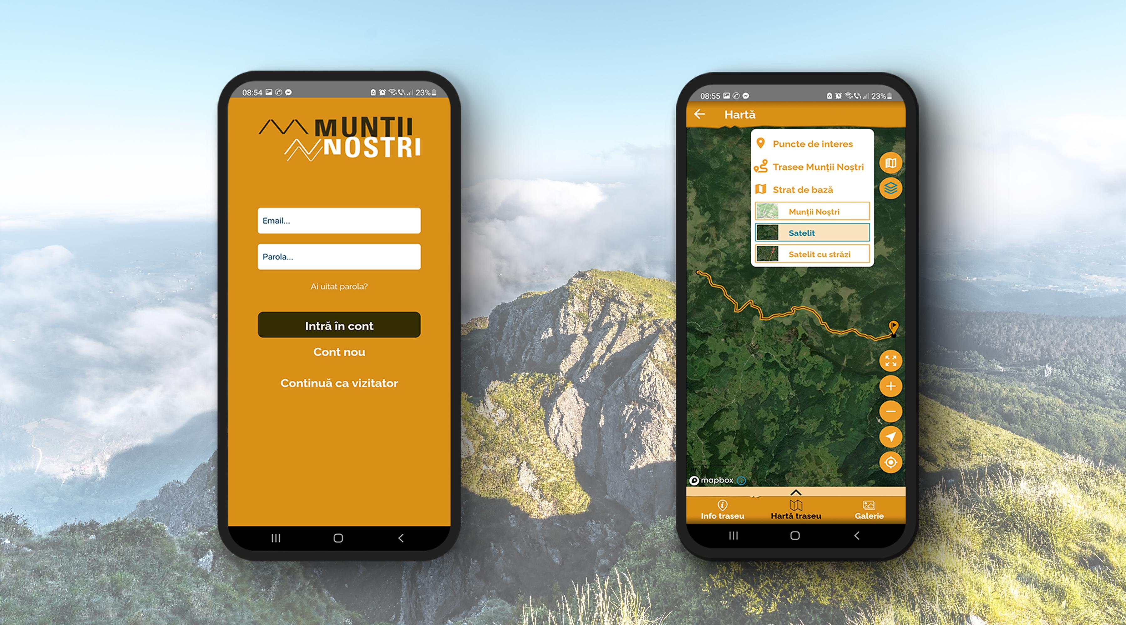 Vedere satelitară după logarea (autentificarea) în contul Munții Noștri